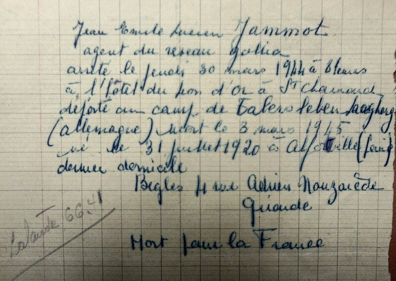 Jean Jammot, note, archives