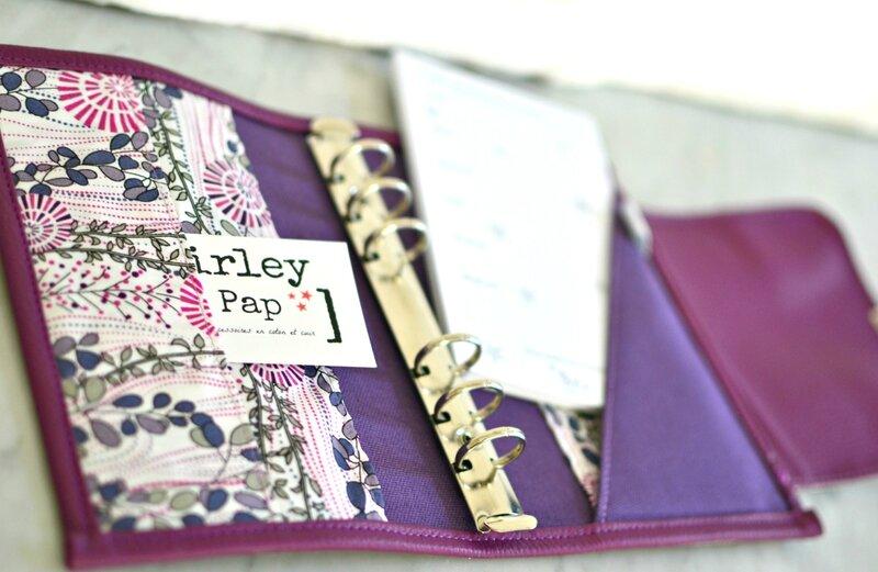 personal planer français en coton et simili cuir, agenda planner shirley ze pap prune amethyste violet