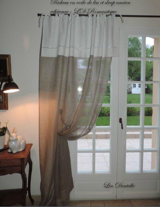 Rideau en voile de lin et drap ancien r f rence ldromantique photo de cr - Rideau avec drap ancien ...