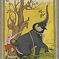 Double sided miniature: verso showing a keeper trying to restrain an elephant. mughal, c 1570 -80