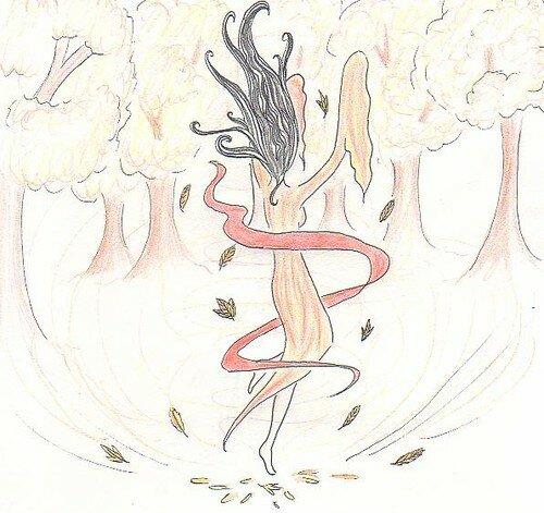 danseuse d'automne colorée