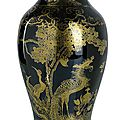 A gold-painted mirror-black-glazed porcelain vase, 19th century