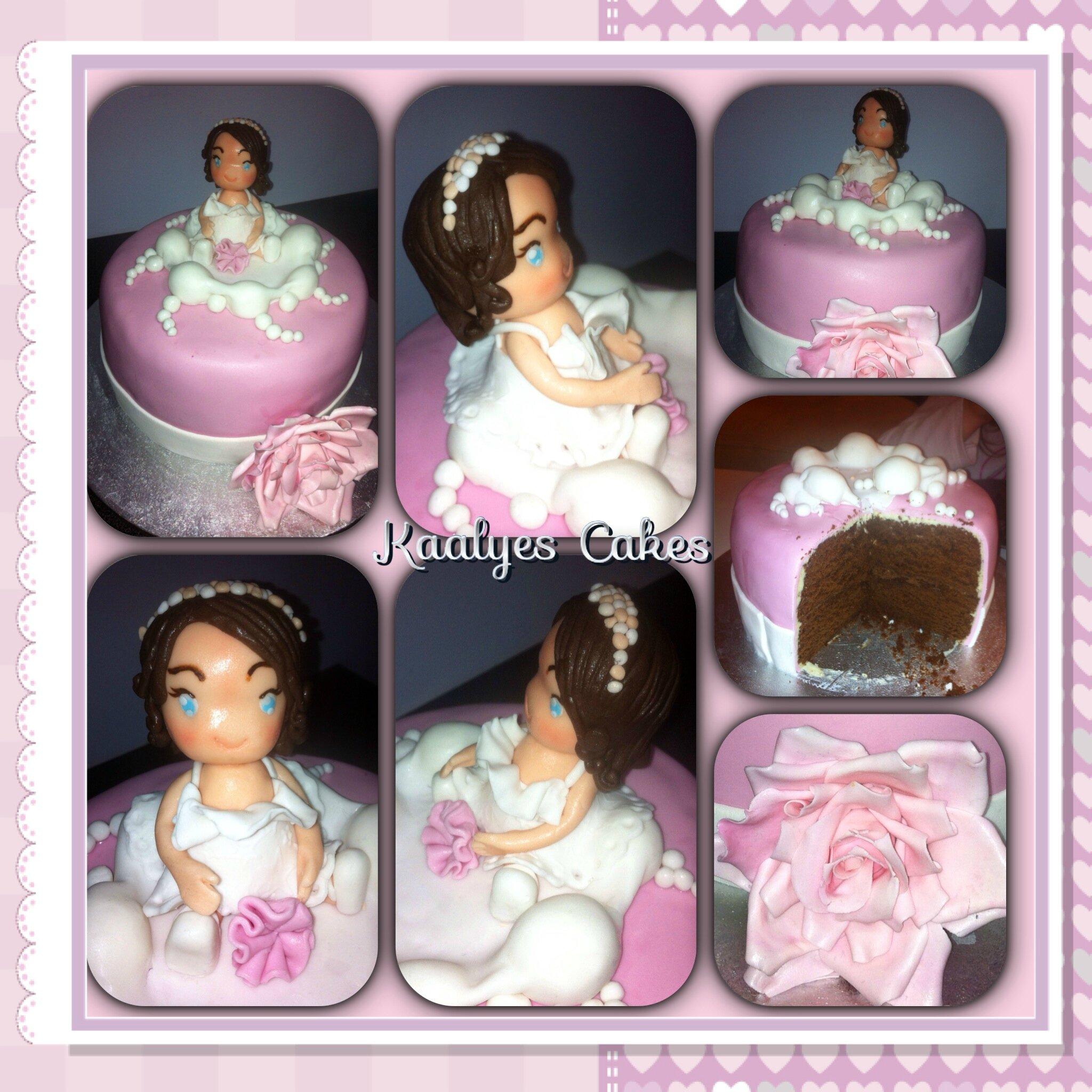 Gâteau petite fille sur un nuage