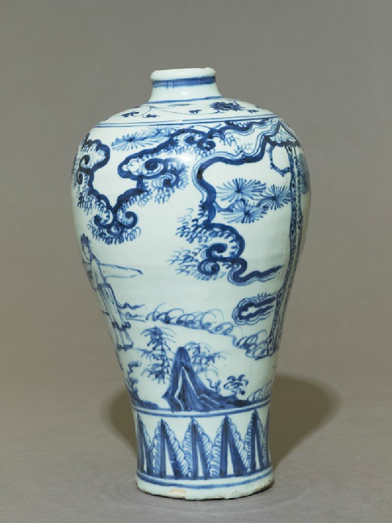 Blue And White Meiping Or Plum Blossom Vase 15th Century