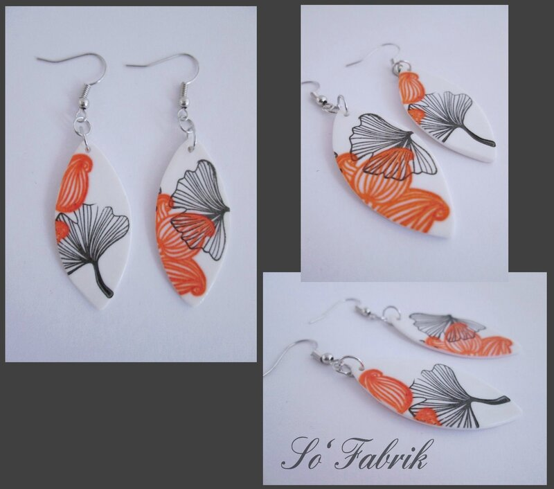 BOUCLES ginko orange simples