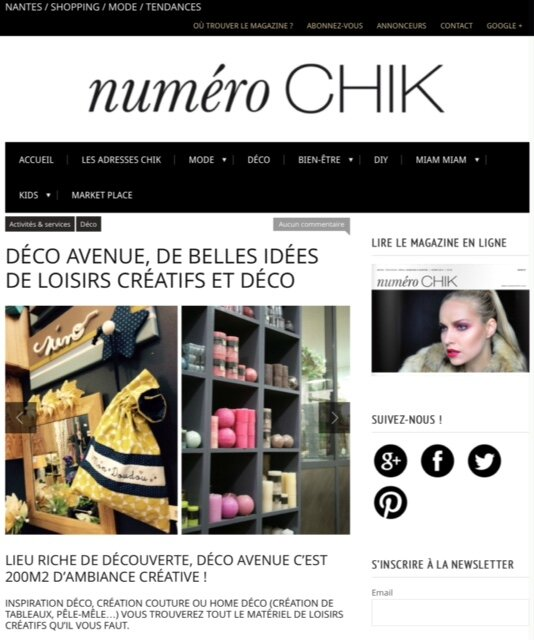 article dans le webzine no chik d cembre 2014 decoavenue le blog. Black Bedroom Furniture Sets. Home Design Ideas
