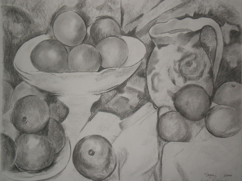 Nature morte d 39 apr s c zanne domi dessins et peintures - Dessin nature morte ...