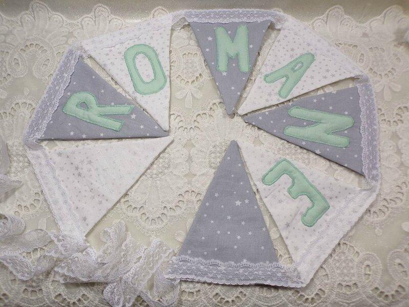 Guirlande fanion étoiles gris blanc menthe fait main