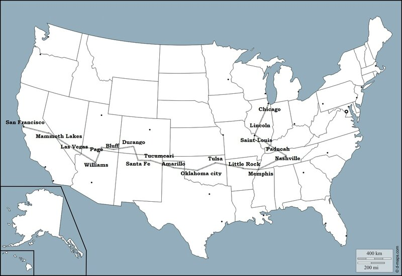ITINERAIRE MAP VOYAGE USA 2018