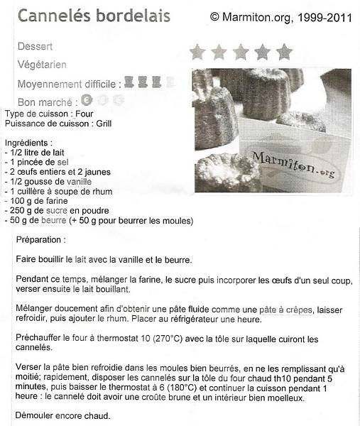 Recette cannel s bordelais as volley ball murs erigne - Canneles bordelais recette originale ...