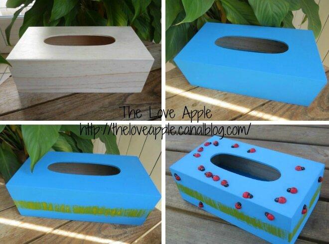 Cr er une boite mouchoirs coccinelles activit pour for Decorer une boite a mouchoirs en bois