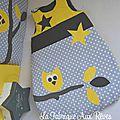 gigoteuse turbulette hibou étoiles jaune gris blanc banches feuilles - décoration chambre bébé jaune gris blanc hibou étoiles