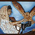 Le grand duc Dressage rapaces bas-relief Ghislaine Letourneur - Training birds of prey