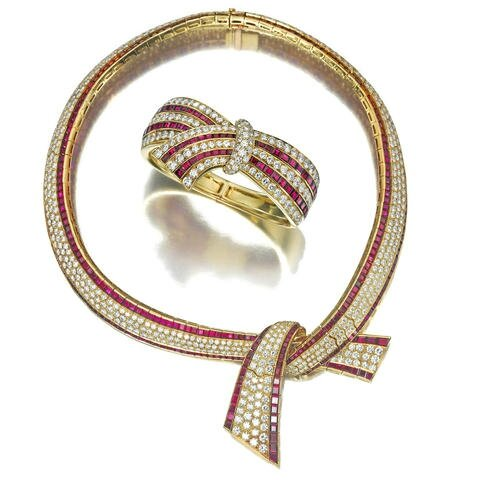 An important suite of diamond and ruby jewelry, Van Cleef & Arpels French, 1988