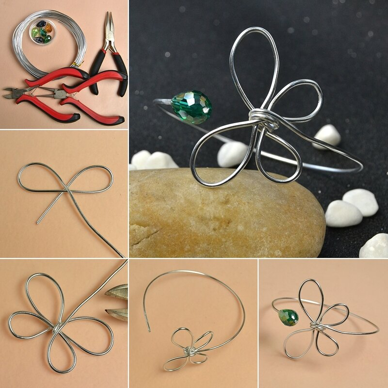 1080-Pandahall-Original-DIY-Project---How-to-Make-a-Silver-Wire-Wrapped-Butterfly-Bangle-Bracelet