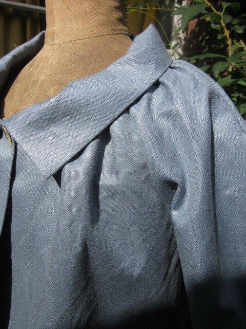 Veste BLANCHE en lin gris bleuté (3)