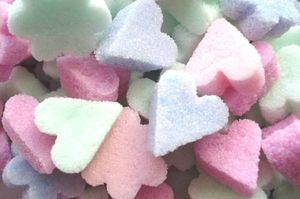 pastel sugar hearts and flowers