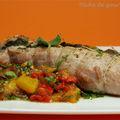 Filet mignon de porc farci à la sauge et légumes grillés