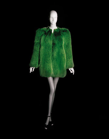Yves_Saint_Laurent__Short_evening_coat_green_fox_fur