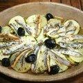 Tian aux anchois, courgette et rattes
