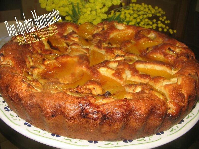 gâteau pêches pommes 009