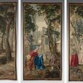 Suite de trois tapisseries de la tenture de l'histoire de don quichotte. bruxelles, xviiie siècle, entre 1729 et 1745.