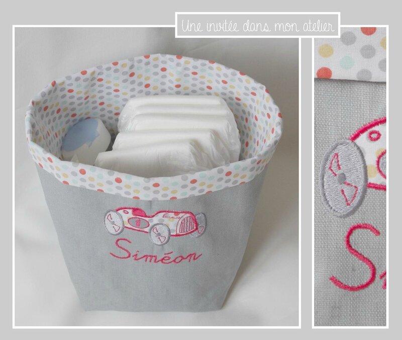 panier personnalisé-tout petit format-ranger les cuouches et produits pour bébé