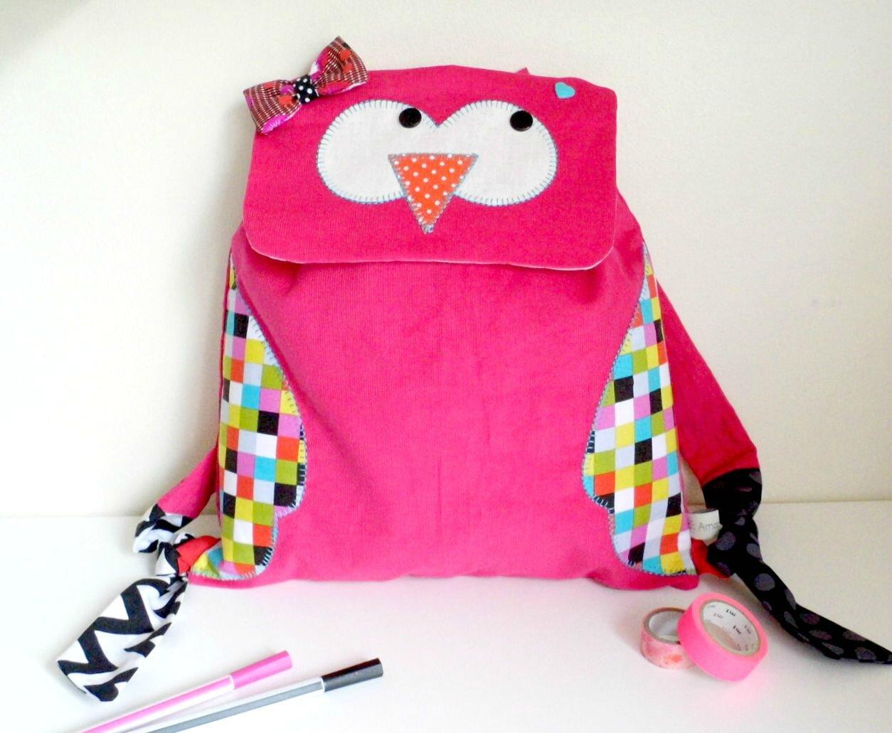 Sac à gouter sac à dos maternelle hibou chouette rose vif