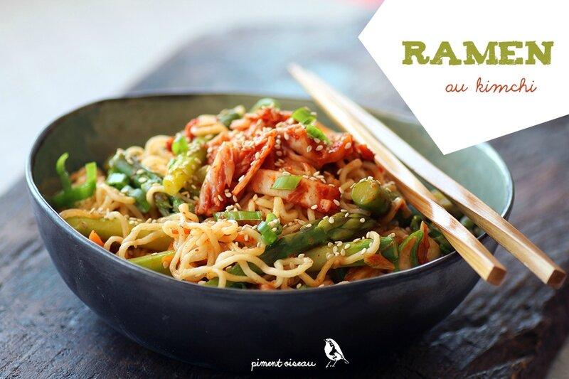 ramen au kimchi et asperges