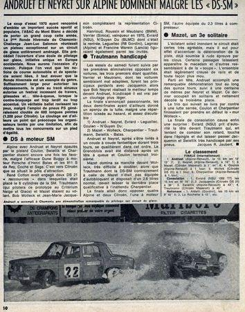 Revue Sport-Moteur - Ronde de Chamonix 1971 - Classt
