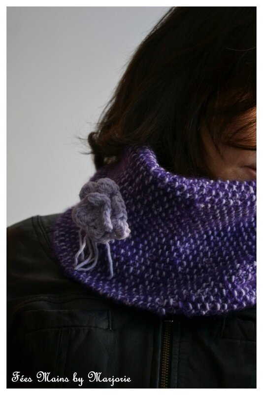Snood point de riz & fleur crochet1
