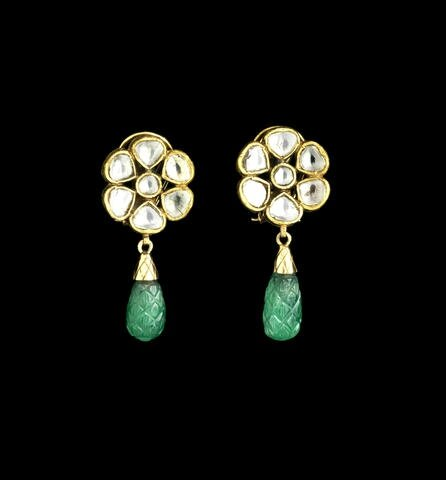A pair of Indian diamond-set Earrings with emerald drop