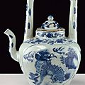 A beautiful and rare blue and white porcelain tea pot, 17th century