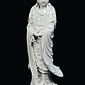 A Blanc de Chine porcelain Guanyin, China, Dehua, Qing Dynasty, 19th century, Fisherman mark