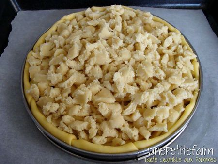 Tarte crumble aux pommes - avant cuisson