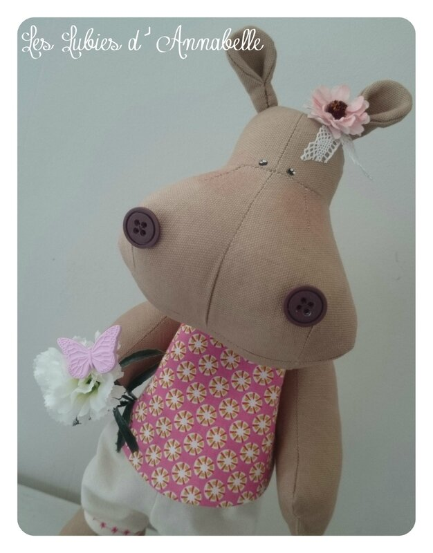 hippopotame fille shabby chic