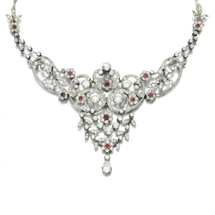 Ruby and diamond necklace, early 20th century