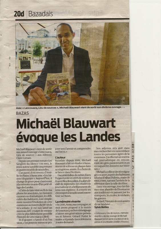 Michaël Blauwart évoque les Landes
