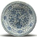 A large barbed-rim blue and white 'peony' dish, ming dynasty, 15th-16th century