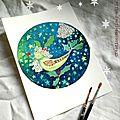 Ciel de Noël - création Marimerveille -L'oiseau de houx
