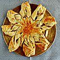 Etoile feuilletée aux poireaux, speck et fromage