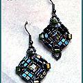 Boucles d'oreilles cubiste en perles de verre et