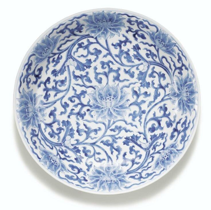 Plat en porcelaine bleu blanc, Marque et époque Kangxi