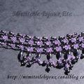 Collier ras de cou violet et hématites