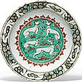 An iznik pottery dish, ottoman turkey, circa 1600