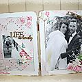 Un cadre avec les papiers shabby pink charms de michele r designs