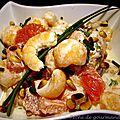 Fraîcheur de melon aux crevettes et pamplemousse rouge