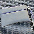 Pochette swarovski gris biais violet