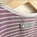 Tee-shirt jersey rayé violet gris et pantalon3