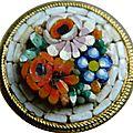 Bouton micro-mosaïque fleuri - smalti filati